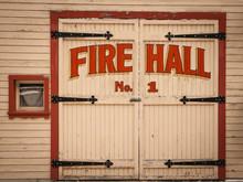 Old Wooden Fire Hall Door In T...
