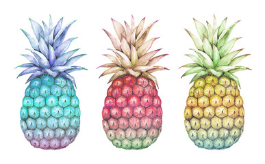 watercolor drawings abstract multicolored pineapple blue, pink, yellow on a white background