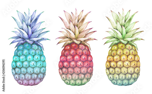 Photo watercolor drawings abstract multicolored pineapple blue, pink, yellow on a whit