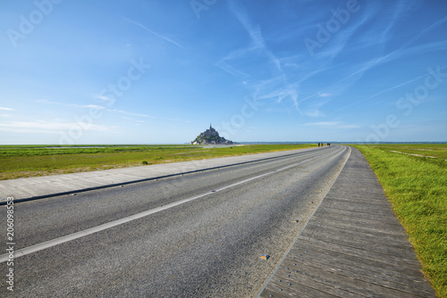 road that leads to Mont Saint-Michel Poster