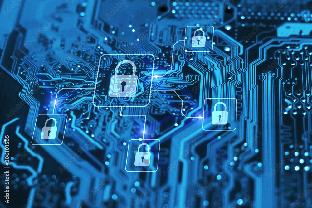 Fototapeta Cyber security and protection of private information and data concept. Locks on blue integrated circuit. Firewall from hacker attack.