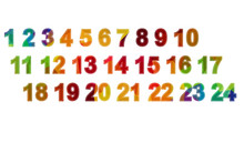 Colored Numbers One To Twelve,...