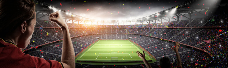 soccer fans and 3d rendering imaginary stadium