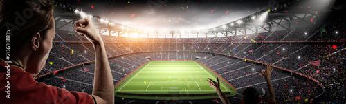 obraz dibond soccer fans and 3d rendering imaginary stadium