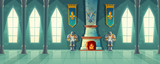Vector castle hall, interior of royal ballroom with fireplace, knight armor, flags for dancing. Big room with columns, pillars in luxury medieval palace. Fantasy, fairy tale or game background