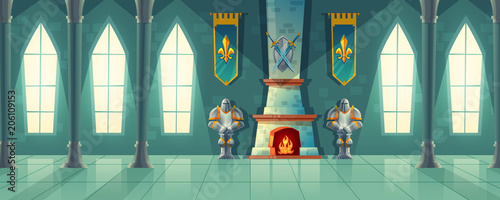 Fototapeta Vector castle hall, interior of royal ballroom with fireplace, knight armor, flags for dancing