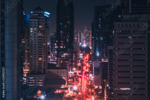 city lights at night - street traffic