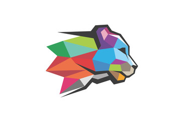 Kreatywne kolorowe logo głowy wielokąta Panther