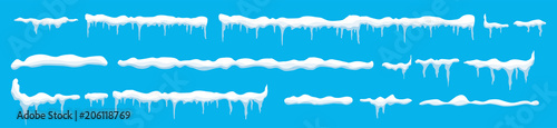 Fotografía Creative vector illustration of ice icicle, caps, snowflakes set isolated on background