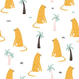 Leopard and palm tree cute seamless pattern. Vector hand drawn illustration. - 206120504