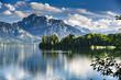 Deutschland, Allgäu, Forggensee, Panorama mit 2 Standup Paddlern
