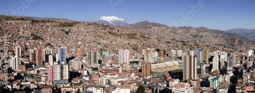 The city of La Paz Bolivia with Illimani in the background.