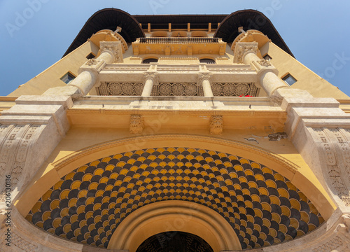Foto op Aluminium Oude gebouw Decorated Facade with Balcony of an beautiful ancient Building of the Belle Epoque in Quartiere Coppede, Rome, Shot from below