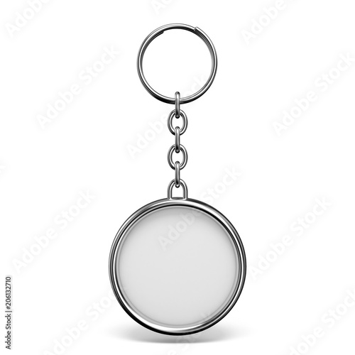 Fotografie, Obraz  Blank metal trinket with a ring for a key circle shape 3D