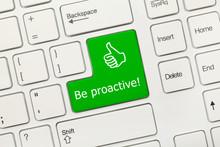 White Conceptual Keyboard - Be Proactive (green Key)