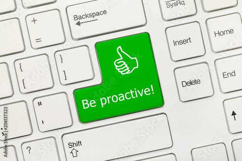 Obraz White conceptual keyboard - Be proactive (green key) - fototapety do salonu