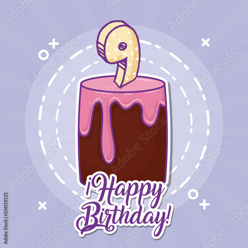 Photo  Happy birthday design with birthday cake with 9 number candle over purple background, colorful design