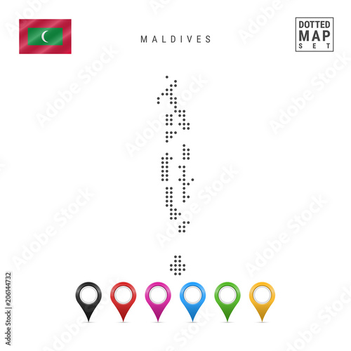 Vector Dotted Map of Maldives. Simple Silhouette of Maldives ...