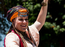 Female Belly Dancer Gypsy At Renaissance Or Pirate Faire