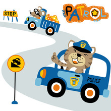 Funny Traffic Cartoon With Funny Animals. Eps 10