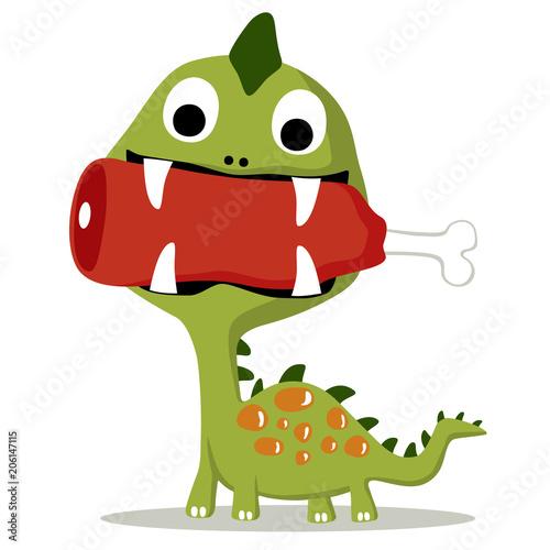 bajkowy-zielony-dinozaur-jedzacy-mieso-kolorowa-ilustracja-obrazek-dzieciecy