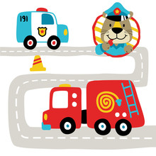 Traffic Cop With Rescue Cars On City Road,  Vector Cartoon Illustration