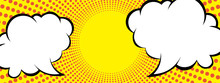 Concentrated Line Background Of The Dot Expression Of The Gradation And Comment Balloon | Yellow | Radiation | Comic