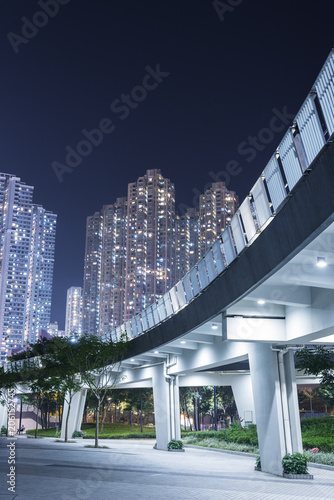 pedestrian walkway in residential district in Hong Kong city at night Poster