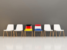Chairs With Flag Of Germany And Netherlands In A Row