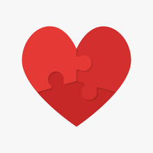 Red Puzzle Heart. Jigsaw Logot...