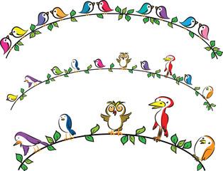Fototapeta Ptaki vector cartoon birds border