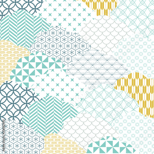 Japanese pattern vector. Cloud shape background. Fototapet
