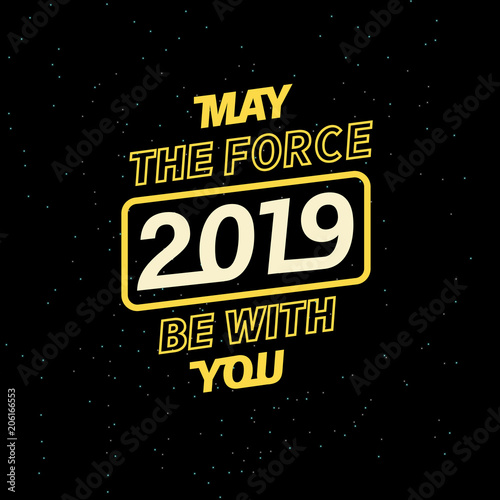 2019 may the force be with you for your seasonal leaflets and greeting cards or Christmas themed invitations Wallpaper Mural