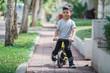ride a bike using push or balance bicycle