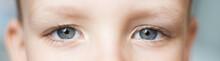 Closeup Of Beautiful Boy Eye. Beautiful Grey Eyes Macro Shot. Image Of A Little Kid Eye