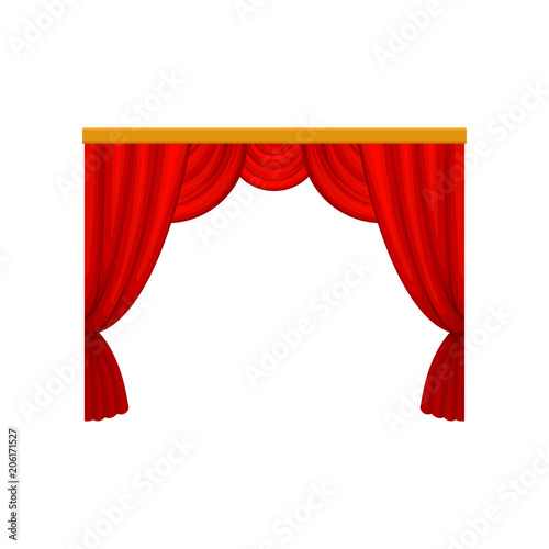 Red curtains with lambrequins for theater or circus stage. Decorative flat vector element for promo poster, banner or website - 206171527