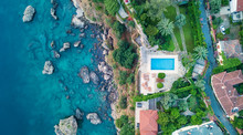 Aerial View At The Pool And Se...