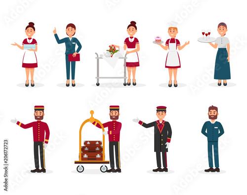 Cuadros en Lienzo Flat vector set of hotel staff