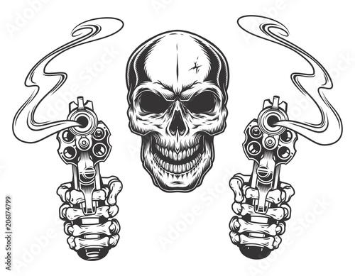 Fotomural skull aiming with two revolvers