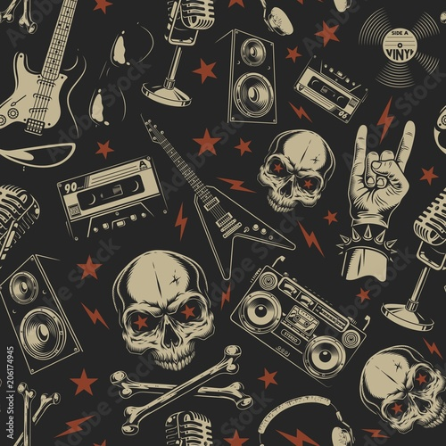Papiers peints Artificiel Grunge seamless pattern with skulls