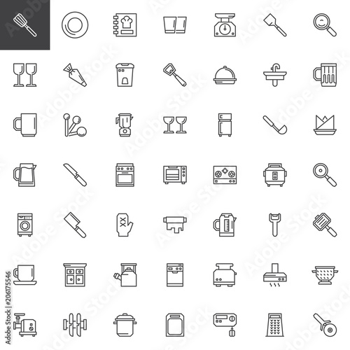 Kitchen Tools Outline Icons Set Linear Style Symbols Collection