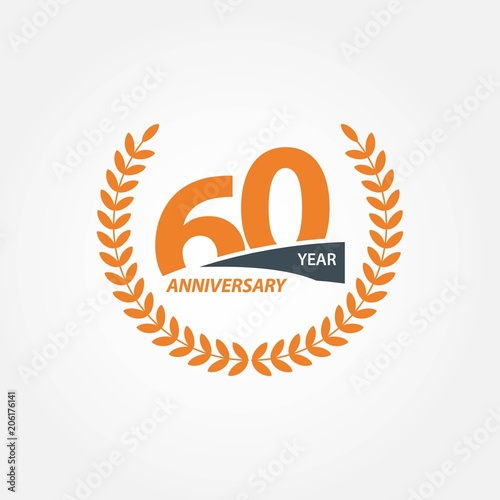 60 Year Anniversary Vector Template Design Illustration Poster