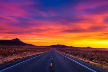 Dramatic Sunset Over An Empty Road In Utah