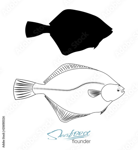 Flounder fish silhouette Poster Mural XXL
