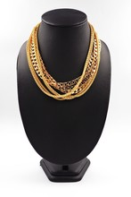 Group Of Gold Necklace Isolate...