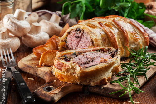 Pork tenderloin in wellington style in puff pastry