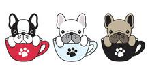 Dog Vector French Bulldog Pug Illustration Dog Bone Coffee Cup Cartoon