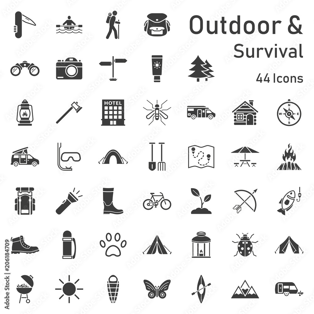 Fototapety, obrazy: Outdoor Survival Iconset