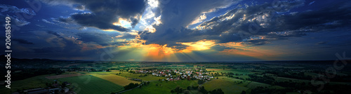Obraz na plátne Sonnenuntergang über Westerhausen