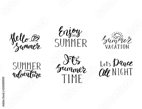 Vector Summer Lettering Phrases Set For Postcards And Posters